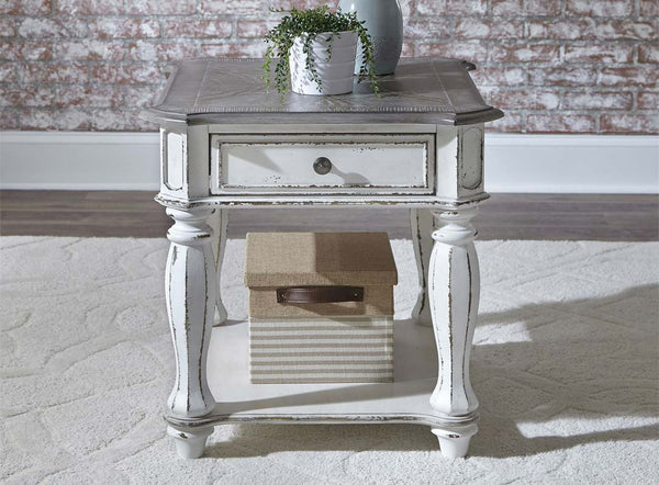 Canterbury Antique White End Table With Single Drawer And Shelf