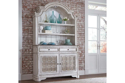 Canterbury Traditional Antique White Storage Dining Buffet With Lighted Hutch