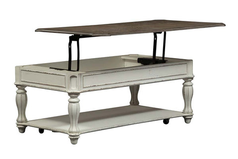 Canterbury Large Distressed Antique White Lift Top Coffee Table With Shelf