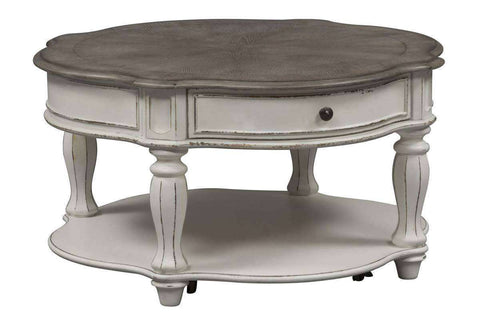 Canterbury Round Antique White Cocktail Table With Single Drawer And Shelf