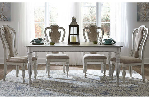 Canterbury 5 Piece Antique White Single Leaf Leg Table Dining Set