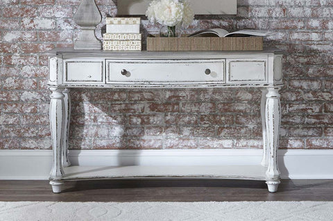 Canterbury Antique White Sofa Console Table With Single Drawer And Shelf