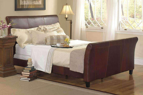 "Carlton ""Designer Style"" Leather Sleigh Style Bed"