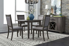 Carson 5 Piece Drop Leaf Dining Table Set In Greystone Finish With Upholstered Back Side Chairs