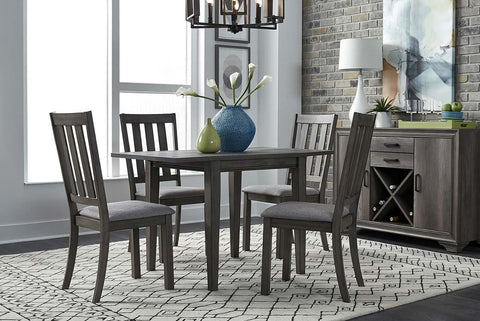 Carson 5 Piece Drop Leaf Dining Table Set In Greystone Finish With Slat Back Side Chairs