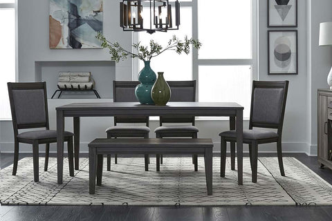 Carson 6 Piece Rectangular Leg Table Dining Set In Greystone Finish With Upholstered Chairs And Dining Bench