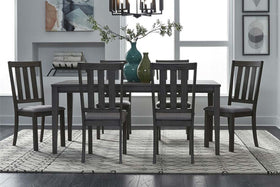 Carson 7 Piece Rectangular Leg Table Dining Set In Greystone Finish With Slat Back Side Chairs