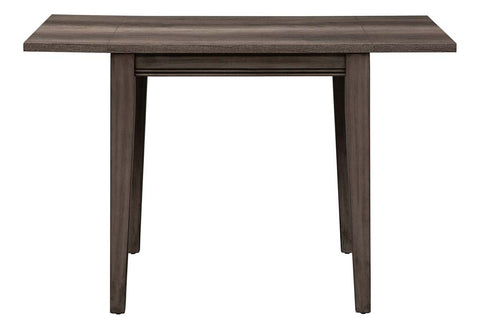 Carson 3 Piece Drop Leaf Dining Table Set In Greystone Finish With Upholstered Back Side Chairs