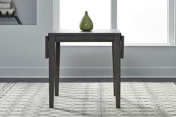 Carson 3 Piece Drop Leaf Dining Table Set In Greystone Finish With Slat Back Side Chairs