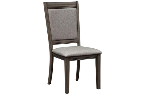 Carson 7 Piece Rectangular Leg Table Dining Set In Greystone Finish With Upholstered Back Side Chairs