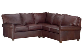 Chadwick Traditional 3-Piece Leather Sectional Couch (As Configured)