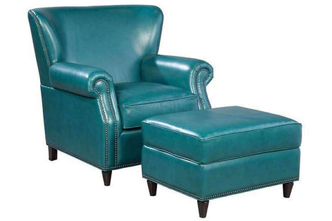 "Chairs And Recliner Beaumont ""Quick Ship"" Peacock Leather Accent Chair"