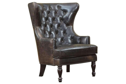 Chairs And Recliner Flemming Tall Back Button Tufted Leather Wing Chair