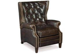 Chairs And Recliner Johnson Tufted Back Leather Recliner