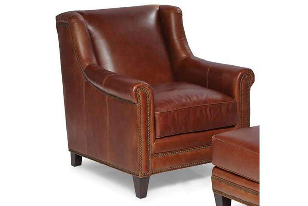 Joshua Coffee Quick Ship Small Wingback Leather Accent Chair