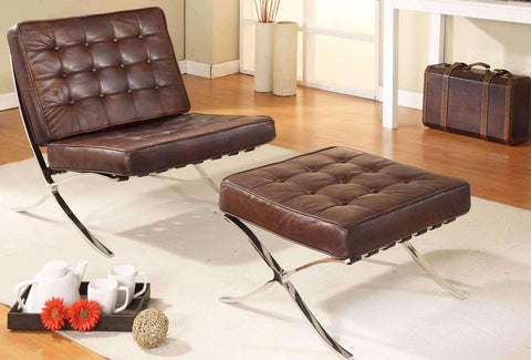 Chairs And Recliner Nils Retro Mid Century Modern Leather Accent Chair