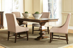 Chauncey Traditional Antique Brownstone 5 Piece Rectangular Trestle Table Set With Classic Linen Side Chairs