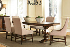 Chauncey Traditional Antique Brownstone 7 Piece Rectangular Trestle Table Set With Classic Linen Side Chairs