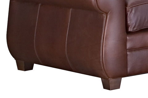 "Chelsea 85 Inch ""Designer Style"" Art Deco Style Leather Club Couch"