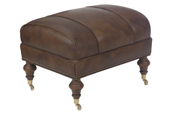 Chesapeake Leather Ottoman With Casters