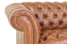 Chesterfield 93 Inch Leather Sofa With Tufted Bench Seat And Nail Trim