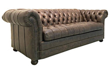 Chesterfield 93 Inch Tufted Leather Sleeper Sofa