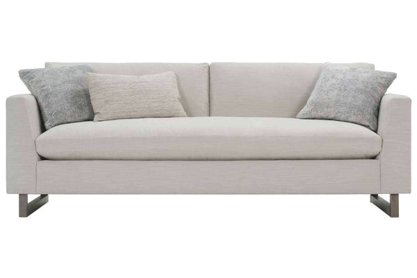 Christy I 88 Inch Fabric Upholstered Single Bench Seat Mid Century Modern Sofa