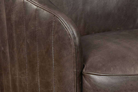 "Conroy ""Quick Ship"" Transitional Leather Swivel Tub Accent Chair - Club Furniture"