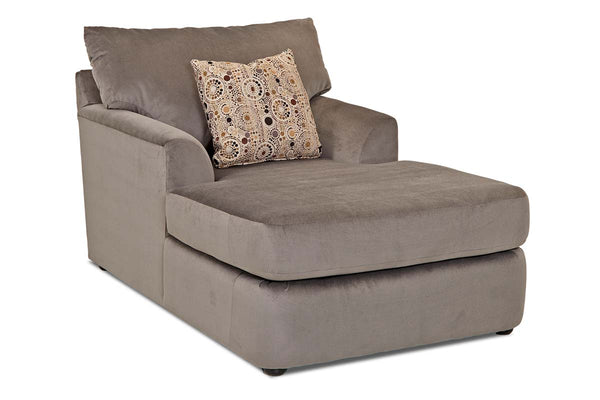 "Cora ""Custom Value"" Fabric Wing Arm Chaise Lounge Chair With Knife Edge Back Pillow"