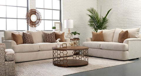 "Cora ""Custom Value"" 91 Inch Wing Arm T-Cushion Three Seat Fabric Upholstered Sofa"