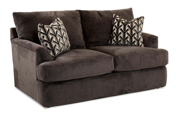 "Cora ""Custom Value"" Wing Arm T-Cushion Two Seat Fabric Upholstered Loveseat"