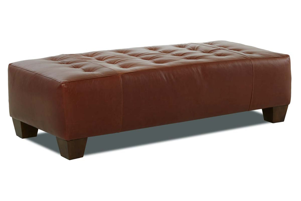 Cunningham 62 Inch Long Large Tufted Coffee Table Leather Ottoman