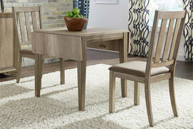 Cyrus 3 Piece Drop Leaf Dining Table Set In Sandstone Finish With Slat Back Side Chairs