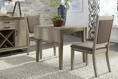 Cyrus 3 Piece Drop Leaf Dining Table Set In Sandstone Finish With Upholstered Back Side Chairs