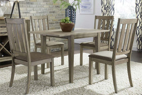 Cyrus 5 Piece Drop Leaf Dining Table Set In Sandstone Finish With Slat Back Side Chairs
