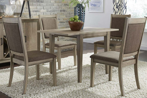 Cyrus 5 Piece Drop Leaf Dining Table Set In Sandstone Finish With Upholstered Back Side Chairs