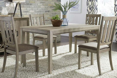 Cyrus 5 Piece Rectangular Leg Table Dining Set In Sandstone Finish With Slat Back Side Chairs