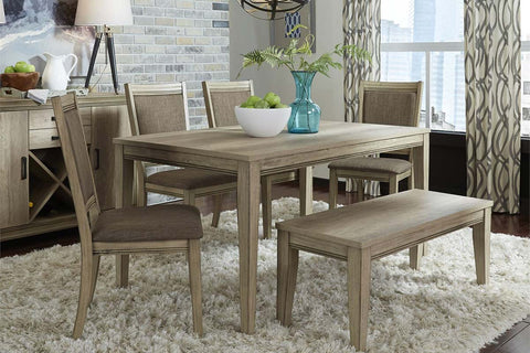 Cyrus 6 Piece Rectangular Leg Table Dining Set In Sandstone Finish With Dining Bench