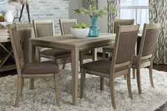Cyrus 7 Piece Rectangular Leg Table Dining Set In Sandstone Finish With Upholstered Back Side Chairs