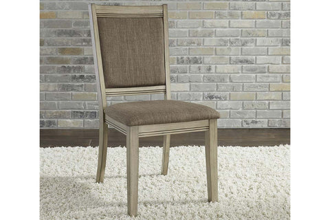 Cyrus 5 Piece Rectangular Leg Table Dining Set In Sandstone Finish With Upholstered Back Side Chairs