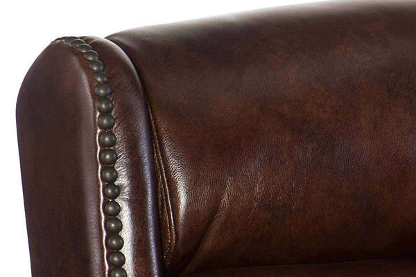 "Daley Chocolate ""Quick Ship"" Power Motion Leather Reclining Sofa With Power Headrest - Club Furniture"