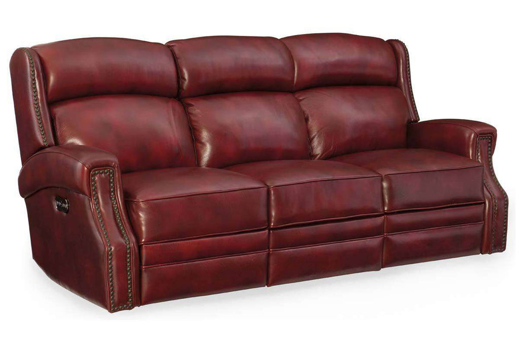 Daley 84.25 Inch Red Quick Ship Leather Power Motion Sofa With Power
