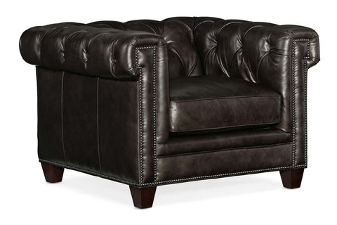 "Damien Smooth Move Iron ""Quick Ship"" Tufted Leather Club Chair"