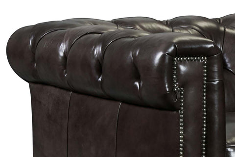 "Damien Smooth Move Iron 94 Inch ""Quick Ship"" Tufted Chesterfield Style Sofa - OUT OF STOCK UNTIL 8/20/20"