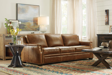 "Daniels ""Quick Ship"" Traditional Full Top Grain Leather Pillow Back Sofa"