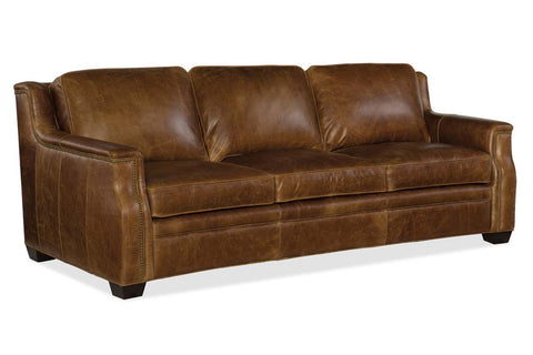 "Daniels 93 Inch ""Quick Ship"" Curved Back Traditional Full Top Grain Leather Pillow Back Sofa"