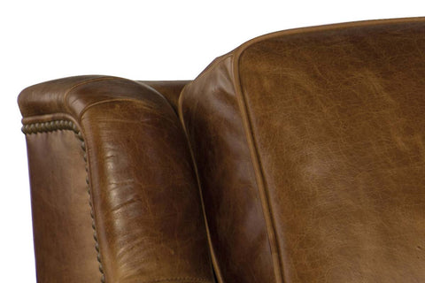 "Daniels 93 Inch ""Quick Ship"" Curved Back Traditional Full Top Grain Leather Pillow Back Sofa - OUT OF STOCK UNTIL 8/21/20"