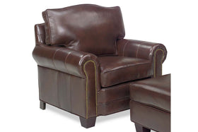 "Davis ""Designer Style"" Traditional Leather Rolled Arm Club Chair"