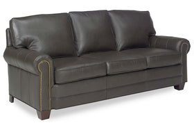 "Davis 83 Inch ""Designer Style"" Traditional Leather Pillowback Sofa"