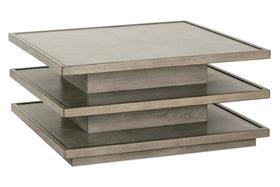 Delta Modern Wood Square Multi Shelf Coffee Table